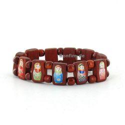 Matrioschka Armband aus rotbraunem Holz, Babuschka Bilder