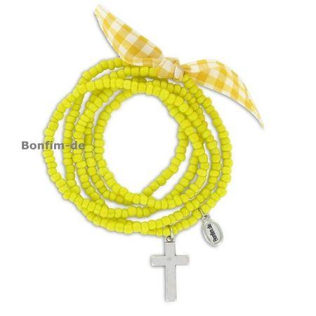 Armband im Trachten - Look, echte Glasperlen, elastisch, in gelb