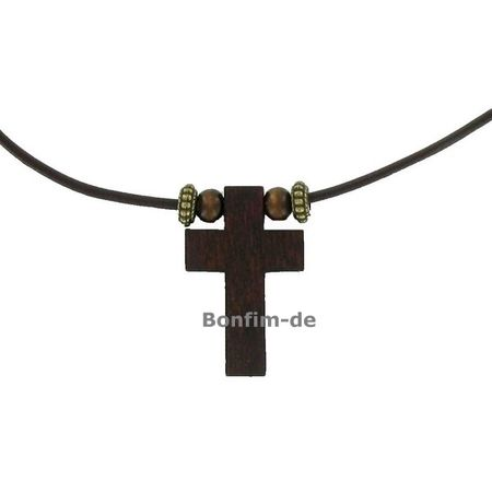 Holzkreuz Kette, an braunem Lederband, mit Verschluß