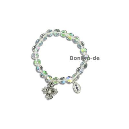 Armband Kristallglasperlen, hochwertiges, echtes geschliffenes Glas, Anhänger, transparent