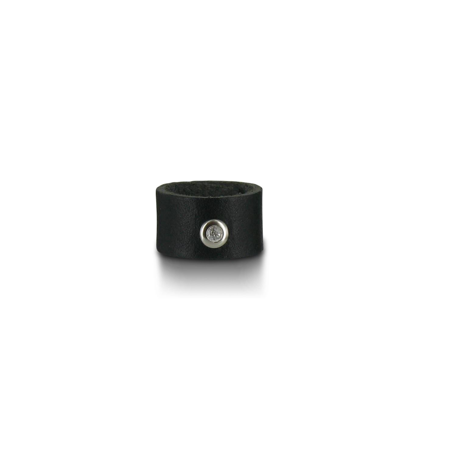 SiaLinda  Ring echtes Leder schwarz mit Strass aus echtem Glas ... f8010816ed641