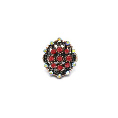 SiaLinda: Ring mit roten Strass Steinchen, runde Form