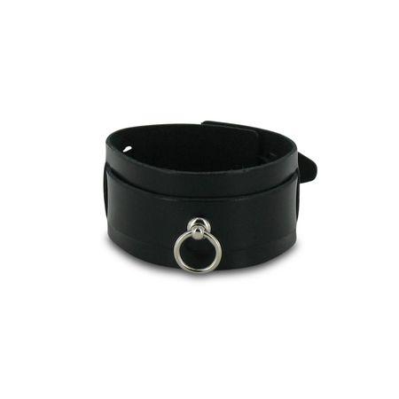 SiaLinda: Armband mit Schnallen,  Leder, schwarz, mit kleinem O-Ring 12mm