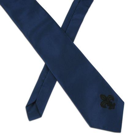 SiaLinda: Krawatte Saphira, dunkelblau, Satin, mit Lilien Applikation