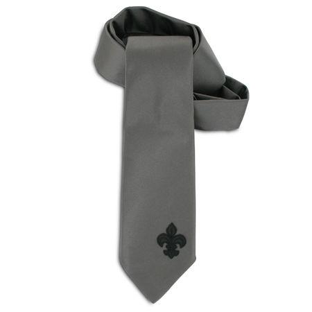 SiaLinda: Krawatte Perla, perl grau, Satin, mit Lilien Applikation