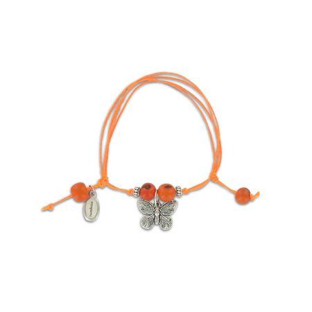 Sommerliches Armband mit Acai Perlen und Schmetterling Anhänger - Neon orange