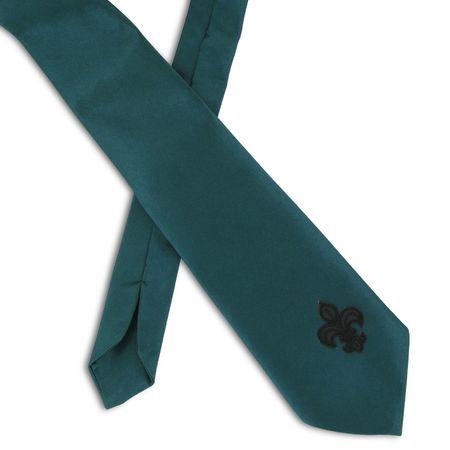 SiaLinda: Krawatte Vanessa, petrol türkis grün, Satin, mit Lilien Applikation