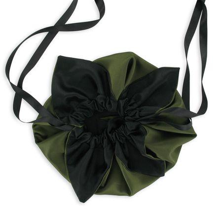 SiaLinda: Pompadour Tasche Verda II, moos  grün / schwarz, Satin