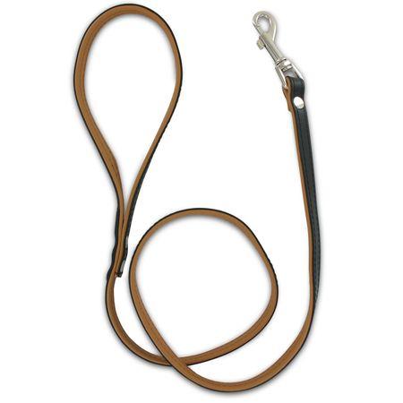 SiaLinda: Leine echtes Leder zweifarbig, schwarz / braun, 120 cm lang