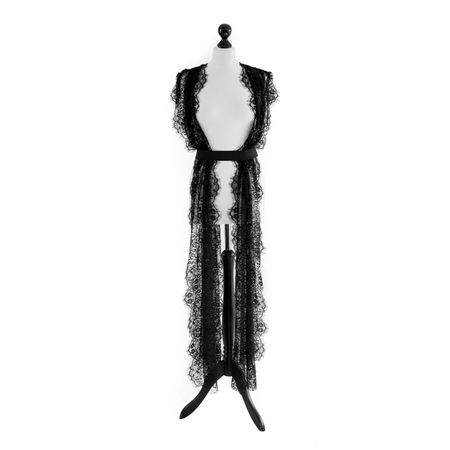 SiaLinda: Kleid Lydia Sonderedition Spitze, schwarz, ouvert, lang, inkl. schwarzen Gürtel.
