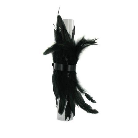 SiaLinda: Federarmband Zaha schwarz, mit Federn und schwarzem Leder, einstellbar