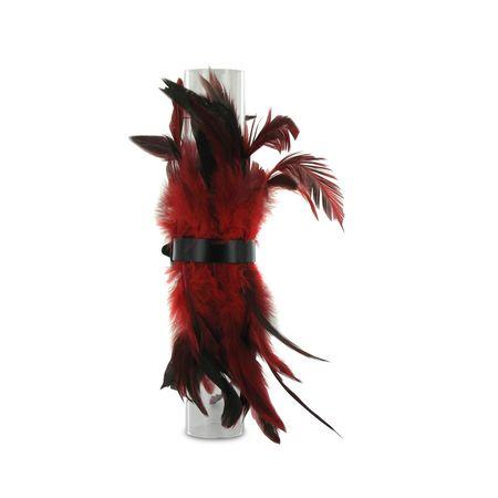 SiaLinda: Federarmband Zaha rot, mit Federn und schwarzem Leder, einstellbar