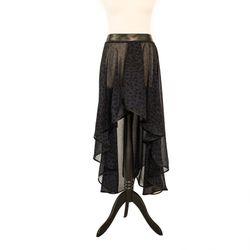 SiaLinda: Rock Lea, blau schwarz, Chiffon, vorne und hinten geschlitzt, O, asymmetrisch 001