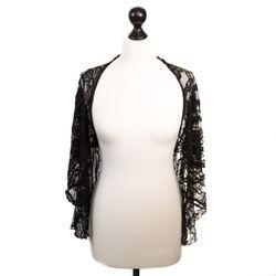 SiaLinda: Stola Bolero Nuria Velvet Edition, schwarz, samtige Spitze 001