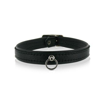 SiaLinda: Halsband echtes Elch Leder mit kl. O-Ring, zweifarbig, schwarz / schwarz 14 mm breit