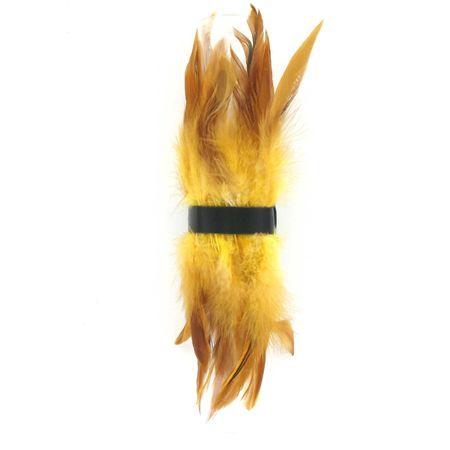 SiaLinda: Federarmband Zaha gelb braun, mit Federn und schwarzem Leder, einstellbar