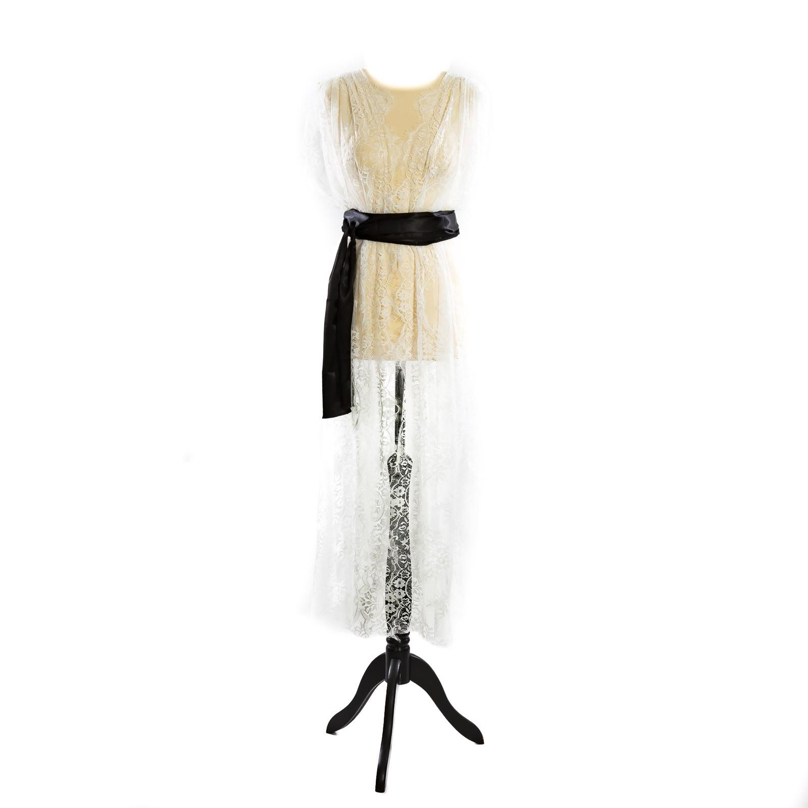 sialinda: kleid lydia sonderedition spitze, weiß, ouvert, lang, inkl.  schwarzen gürtel.