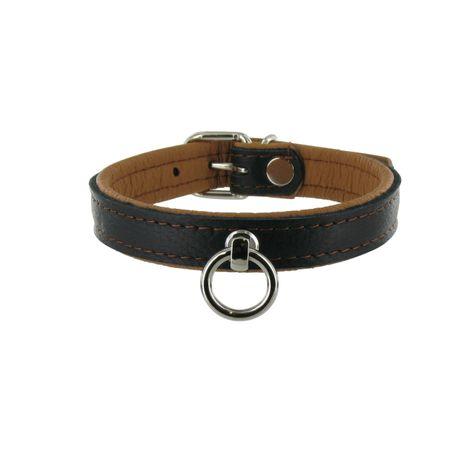 SiaLinda: Halsband echtes Elch Leder mit O-Ring, zweifarbig, schwarz / hellbraun 20mm breit - 2 Längen!