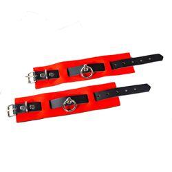 SiaLinda: Armbänder BDSM Leder mit Neoprenpolster schwarz - rot