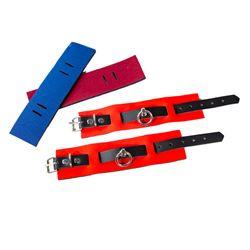 SiaLinda: Fuß-Manschetten Set, BDSM, Leder mit Neoprenpolster schwarz - rot und royal blau - weinrot 001