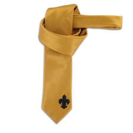 SiaLinda: Krawatte Aurelia, gold gelb, Satin, mit Lilien Applikation