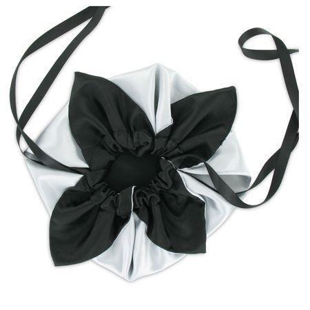SiaLinda: Pompadour Tasche Argenta weiss-silber  / schwarz, Satin