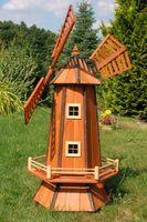 Windmühle, Garten, Holz Windmühlen, imprägn., Kugelgelagert, 1,3m, wahlw. Solar  001