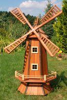 Windmühle, Garten, Holz Windmühlen, imprägn., Kugelgelagert, 1,3m, wahlw. Solar  002