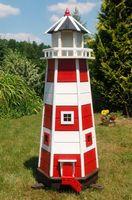 Wunderschöner großer Leuchtturm aus Holz mit LED Beleuchtung 1,40 m Garten