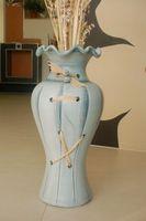 Edle 60 cm Bodenvase blau/grau 001