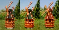 XXL norddeutsche Windmühle mit Beleuchtung Solar 1,50m