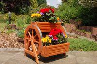 Blumentreppe, Blumenbank, Pflanztreppe 60cm Breite aus Holz, vollständig behandelt in braun 002