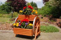 Blumentreppe, Blumenbank, Pflanztreppe 60cm Breite aus Holz, vollständig behandelt in braun 006