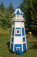 Wunderschöner großer Leuchtturm aus Holz mit LED Beleuchtung 1,10m blau/weiß