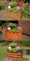 Pflanzkasten, Blumenkasten, Blumenkübel aus massivem Holz, für den Garten (ohne Blumen)