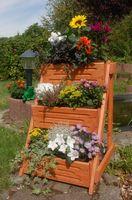 Blumentreppe, Blumenleiter, Pflanztreppe, Pflanzleiter Breite aus Holz, vollständig behandelt in braun  Bild 5