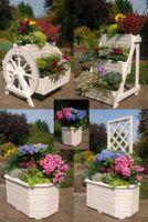 Blumentreppe, Blumenleiter, Pflanztreppe, Pflanzleiter aus Holz, in Weiß,  versch.Modelle