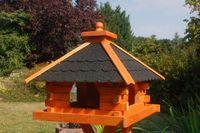 Futterhaus Vogelhaus mit Bitumenschindeln, versch. Dachfarben wählbar mit oder ohne Solarbeleuchtung V20