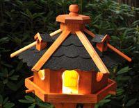 Vogelhaus, Vogelhäuschen mit Bitumschindeln, behandelt, mit Solar V12 002