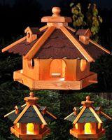 Vogelhaus, Vogelhäuschen mit Bitumschindeln, behandelt, mit Solar V12 001