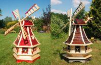 Norddeutsche Windmühle, kugelgelagert 1,3 m Lamellendach versch. Farben, Solarbeleuchtung Bild 3