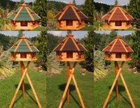 Riesiges XXL Vogelhaus, Futterhaus 67 x 45 cm imprägniert, Bitumschindeldach verschiedene Farben wählbar, mit oder ohne Vogelhausständer, V18