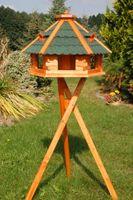 Riesiges XXL Vogelhaus, Futterhaus 67 x 45 cm imprägniert, Bitumschindeldach verschiedene Farben wählbar, mit oder ohne Vogelhausständer, V18 Bild 4