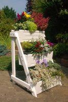 Blumentreppe, Blumenleiter, Pflanztreppe, Pflanzleiter aus Holz, vollständig behandelt, weiß  Bild 2