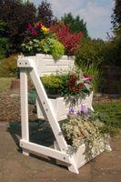 Blumentreppe, Blumenleiter, Pflanztreppe, Pflanzleiter aus Holz, vollständig behandelt, weiß  Bild 3