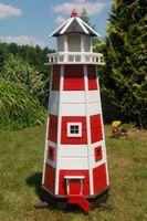 XXL Leuchtturm mit LED Beleuchtung, sparsam, rot - weiß, 1,40m XXL 001
