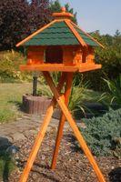 XXL Futterhaus Vogelhaus mit Bitumenschindeln versch. Dachfarben mit Vogelhausständer V20 Bild 4