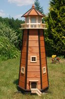 Wunderschöner großer XXL Leuchtturm aus Holz mit LED Solar Beleuchtung 1,40 m, braun 001