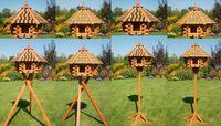 Vogelhaus XXL, Futterhaus 65 x 50 cm imprägniert, Holzschindeldach in braun-schwarz, mit oder ohne Vogelhausständer, V15XXL 001