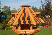 XL Luxus Vogelhaus, wahlw. mit Solar / Ständer, braun schwarze Holzschindeln, Holz, V13  003